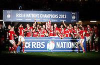 Photo: Richard Lane/Richard Lane Photography. Wales v England. RBS 6 Nations Championship. 16/03/2013. Wales celebration.
