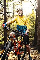 Portrait of Daniel Breece, mountain biker in Änggårdsbergen Nature Reserve, Gothenburg, Sweden