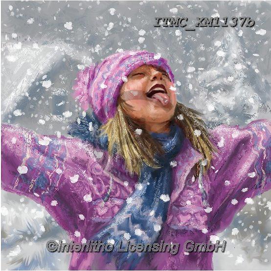 Marcello, CHRISTMAS CHILDREN, WEIHNACHTEN KINDER, NAVIDAD NIÑOS, paintings+++++,ITMCXM1137B,#xk# ,playing in snow