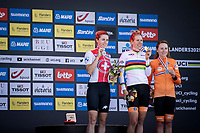 podium:<br /> <br /> 1st place - Ellen Van Dijk (NED/Trek Segafredo)<br /> 2nd place - Marlen Reusser (SUI/Alé BTC Ljubljana)<br /> 3th place - Annemiek Van Vleuten (NED/Movistar)<br /> <br /> 88th UCI Road World Championships 2021 – ITT (WC)<br /> Women Elite Time trial from Knokke-Heist to Brugge (30.3km)<br /> <br /> ©Kramon