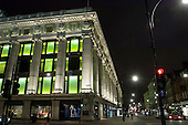 Selfridges store on Oxford Street, central London, at night.