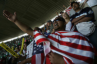 United States Men's National team fans cheers at Azteca stadium. The United States Men's National Team played Mexico in a CONCACAF World Cup Qualifier match at Azteca Stadium in, Mexico City, Mexico on Wednesday, August 12, 2009.