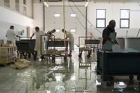 Warehouse where the fish is processed - Cabras, Sardinia.