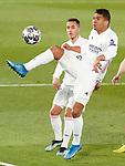 Real Madrid's Lucas Vazquez (l) and Carlos Henrique Casemiro during UEFA Champions League Quarter-finals 1st leg match. April 6,2021.(ALTERPHOTOS/Acero)