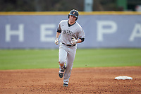 Spencer Packard (25) of the Campbell Camels rounds the bases after hitting a 2-run home run against the High Point Panthers at Williard Stadium on March 16, 2019 in  Winston-Salem, North Carolina. The Camels defeated the Panthers 13-8. (Brian Westerholt/Four Seam Images)