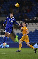 Matthew Connolly of Cardiff City beats Jordan Hugill of Preston North End during the Sky Bet Championship match between Cardiff City and Preston North End at Cardiff City Stadium, Wales, UK. Tuesday 31 January 2017