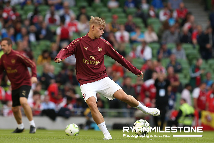 Arsenal's Emile Smith-Rowe during the warmup ahead of the International Champions Cup Game between Arsenal and Chelsea at the Aviva Stadium, Dublin. Photo By Michael P Ryan.
