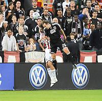 DC United defender Bryan Namoff (26) goes up to head the ball against Chivas USA Sacha Kljestan (16). Chivas USA defeated DC United 3-0, Saturday October 4, 2008 at RFK Stadium.