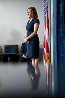 Jen Psaki, White House press secretary, listens during a news conference in the James S. Brady Press Briefing Room at the White House in Washington, D.C., U.S., on Tuesday, June 8, 2021. President Biden released a multi-pronged strategy to secure critical supply chains in products ranging from medicines to microchips, and is also weighing a potential trade probe that could result in U.S. tariffs on certain magnet imports. <br /> CAP/MPI/RS<br /> ©RS/MPI/Capital Pictures