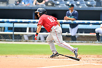 Greenville Drive Elih Marrero (10) runs to first base during a game against the Asheville Tourists on July 18, 2021 at McCormick Field in Asheville, NC. (Tony Farlow/Four Seam Images)