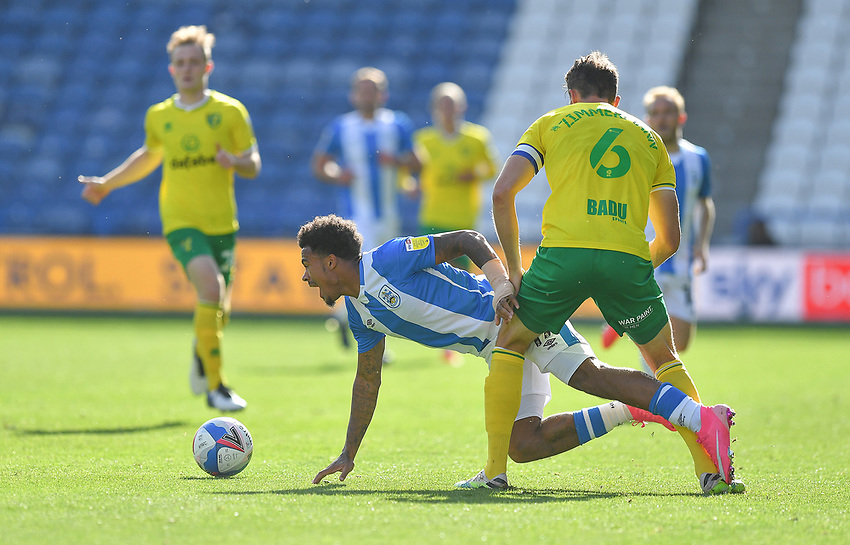 Huddersfield Town's Josh Koroma is fouled by  Norwich City's Christoph Zimmermann<br /> <br /> Photographer Dave Howarth/CameraSport<br /> <br /> The EFL Sky Bet Championship - Huddersfield Town v Norwich - Saturday September 12th 2020 - The John Smith's Stadium - Huddersfield<br /> <br /> World Copyright © 2020 CameraSport. All rights reserved. 43 Linden Ave. Countesthorpe. Leicester. England. LE8 5PG - Tel: +44 (0) 116 277 4147 - admin@camerasport.com - www.camerasport.com