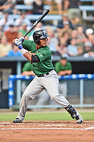 Savannah Sand Gnats right fielder Victor Cruzado #18 awaits a pitch during a game against the Asheville Tourists at McCormick Field September 3, 2014 in Asheville, North Carolina. The Tourists defeated the Sand Gnats 8-3. (Tony Farlow/Four Seam Images)