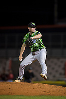 Eugene Emeralds relief pitcher Casey Ryan (24) delivers a pitch during a Northwest League game against the Salem-Keizer Volcanoes at Volcanoes Stadium on August 31, 2018 in Keizer, Oregon. The Eugene Emeralds defeated the Salem-Keizer Volcanoes by a score of 7-3. (Zachary Lucy/Four Seam Images)
