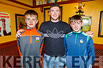 Rory O'Halloran and Padraig Kenny standing with Declan Hannon the Limerick hurler at the Ballyheigue GAA Juvenile Awards in the White Sands Hotel on Sunday