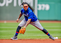 22 June 2019: Toronto Blue Jays shortstop Freddy Galvis warms up with infield grounders prior to a game against the Boston Red Sox at Fenway :Park in Boston, MA. The Blue Jays rallied to defeat the Red Sox 8-7 in the 2nd game of their 3-game series. Mandatory Credit: Ed Wolfstein Photo *** RAW (NEF) Image File Available ***