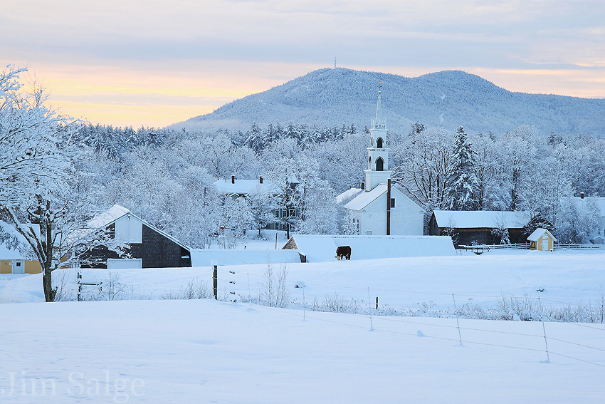 A muted sunrise over the town of Tamworth, New Hampshire.