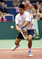 24-2-06, Netherlands, tennis, Rotterdam, ABNAMROWTT,  Novak Djokovic in action against Radek Stepanek