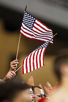 7 June 2011: USA fans wave flags during the CONCACAF soccer match between USA and Canada at Ford Field Detroit, Michigan. USA won 2-0.