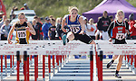 RAPID CITY, SD - MAY 30: Lauren Sokolowski #215, center, of Irene-Wakonda leads Kelsey Lee #105 of Faulkton Area and Ally Mullaney #74 in the girls class B 100 meter hurdles during the 2015 SDHSAA State Track & Field Meet Saturday at O'Harra Stadium in Rapid City, S.D. (Photo by Dick Carlson/Inertia)