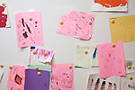 September 14, 2011. Raleigh, NC. . Student art work is posted on boards around the classroom.. Project Enlightenment, a public pre-kindergarten program for at risk children, has been threatened with closure due to state wide budget cuts..