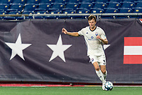 FOXBOROUGH, MA - SEPTEMBER 5: Stefan Mueller #3 of Tormenta FC looks to pass during a game between Tormenta FC and New England Revolution II at Gillette Stadium on September 5, 2021 in Foxborough, Massachusetts.