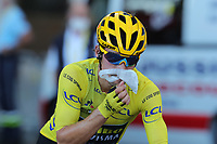 12th September 2020; Lyon, France;  TOUR DE FRANCE 2020- UCI Cycling World Tour during covid-19 pandemic. Stage 14 from Clermont-Ferrand to Lyon on the 12th of September. Primoz Roglic Slovenia Team Jumbo - Visma with his yellow jersey and wearing a mask