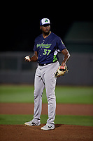 Vermont Lake Monsters pitcher Jeferson Mejia (37) during a NY-Penn League game against the Aberdeen IronBirds on August 19, 2019 at Leidos Field at Ripken Stadium in Aberdeen, Maryland.  Aberdeen defeated Vermont 6-2.  (Mike Janes/Four Seam Images)