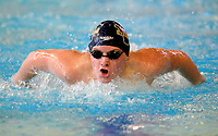 Bentonville West's Tyler Wirthlin competes Saturday, Feb. 13, 2021, in the 100-yard butterfly during the Class 6A-West Conference Swim Championships at the Jones Center in Springdale. Visit nwaonline.com/210214Daily/ for today's photo gallery. <br /> (NWA Democrat-Gazette/Andy Shupe)