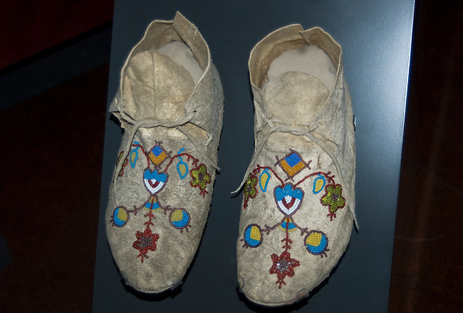 Pair of beaded moccasins worn by a Mandan woman