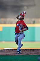 Columbus Clippers starting pitcher Mike Clevinger (39) delivers a pitch during a game against the Rochester Red Wings on June 14, 2016 at Frontier Field in Rochester, New York.  Rochester defeated Columbus 1-0.  (Mike Janes/Four Seam Images)