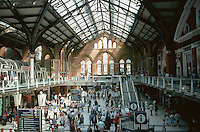 London:  Liverpool St. Station--Interior, 1874-75.  Looking east, new shops renovated 2005.  Photo '05.