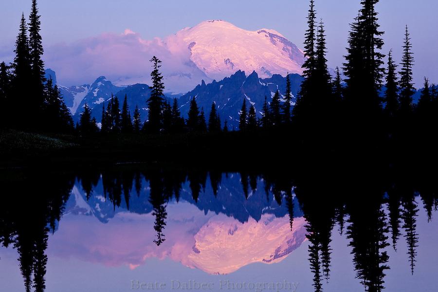 Sunrise reflection of Mt. Rainier at Upper Tipsoo Lake, Mt. Rainier National Park