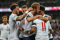 Raheem Sterling (Manchester City) of England (11) celebrates with Harry Kane (Tottenham Hotspur) of England (3rd right) after he scores his second goal during the UEFA 2020 Euro Qualifier match between England and Czech Republic at Wembley Stadium, London, England on 22 March 2019. Photo by David Horn.