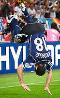 Maxi Rodriguez of Argentina does a flip to celebrate his goal. Argentina defeated Serbia and Montenegro 6-0 in their FIFA World Cup Group C match at FIFA World Cup Stadium, Gelsenkirchen, Germany, June 16, 2006.