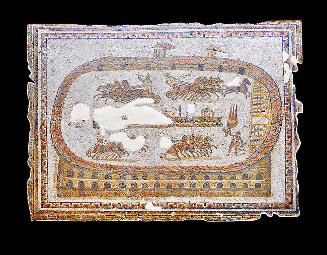 Late 2nd early 3rd century AD Roman mosaic depictiong a  chariot race at the circus. From Cathage, Tunisia.  The Bardo Museum, Tunis, Tunisia. black background