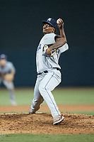 Asheville Tourists relief pitcher Ernesto Jaquez (17) in action against the Winston-Salem Dash at Truist Stadium on September 17, 2021 in Winston-Salem, North Carolina. (Brian Westerholt/Four Seam Images)