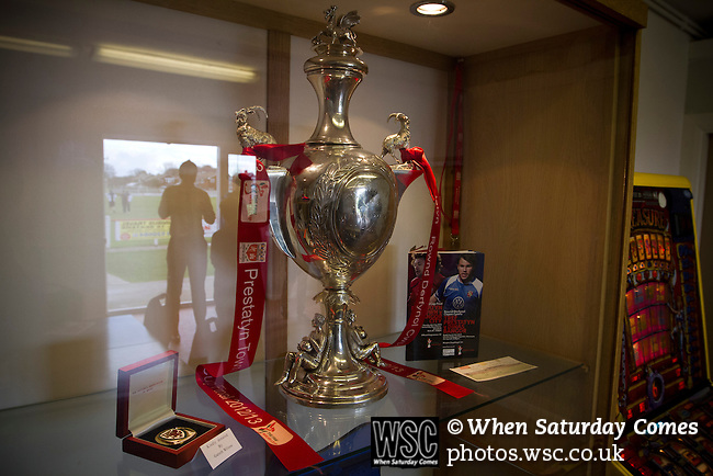 Prestatyn Town 0 Port Talbot Town 0, 19/10/2013. Bastion Gardens, Welsh Premier League. The Welsh Cup on display in the bar at Bastion Gardens prior to the match between Prestatyn Town and visitors Port Talbot Town in the Welsh Premier League. Prestatyn Town were Welsh Cup winners in 2013. The match ended goalless and was watched by 211 spectators. Photo by Colin McPherson.