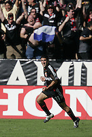 D.C. United's Alecko Eskandarian celebrates after scoring againt the Kansas City Wizards in the first half of the  MLS Cup, at the Home Depot Center, in Carson, Calif., Sunday, Oct. 14, 2004.