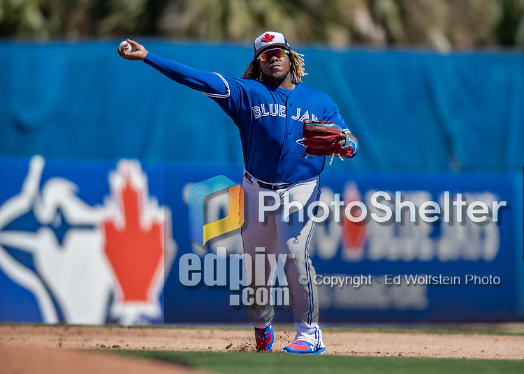 6 March 2019: Toronto Blue Jays top prospect infielder Vladimir Guerrero Jr. gets the first out in the second inning of a Spring Training game against the Philadelphia Phillies at Dunedin Stadium in Dunedin, Florida. The Blue Jays defeated the Phillies 9-7 in Grapefruit League play. Mandatory Credit: Ed Wolfstein Photo *** RAW (NEF) Image File Available ***