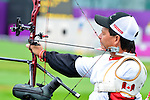 LONDON, ENGLAND 27/08/2012 - Kevin Evans of the Canadian Paralympic Archery Team steadies himself before a shot during a training session at the London 2012 Paralympic Games at The Royal Artillery Barracks. (Photo: Phillip MacCallum/Canadian Paralympic Committee)