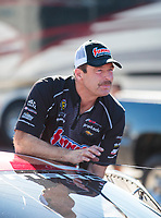 Nov 17, 2019; Pomona, CA, USA; NHRA pro stock driver Greg Anderson during the Auto Club Finals at Auto Club Raceway at Pomona. Mandatory Credit: Mark J. Rebilas-USA TODAY Sports