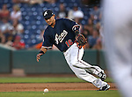 Reno Aces' Ildemaro Vargas fields a bunt at Greater Nevada Field in Reno, Nev., on Tuesday, July 26, 2016.  <br />Photo by Cathleen Allison