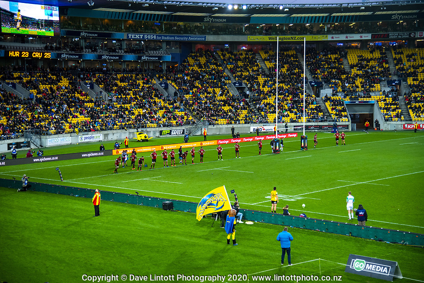 Hurricanes' Jackson Garden-Bachop takes a sideline conversion during the Super Rugby Aotearoa match between the Hurricanes and Crusaders at Sky Stadium in Wellington, New Zealand on Saturday, 21 June 2020. Photo: Dave Lintott / lintottphoto.co.nz