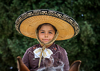 Portrait of Mexican Boy wearing Sombrero Hat, Kent Cornucopia Days, Kent, Washington State, WA, USA.
