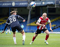 Matt Jay of Exeter City dinks the ball past Kyle Taylor, Southend United during Southend United vs Exeter City, Sky Bet EFL League 2 Football at Roots Hall on 10th October 2020