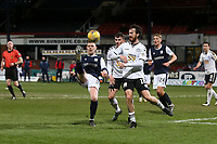 16th March 2021; Dens Park, Dundee, Scotland; Scottish Championship Football, Dundee FC versus Ayr United; Sam Fisher of Dundee challenges for the ball with Joe Chalmers of Ayr United