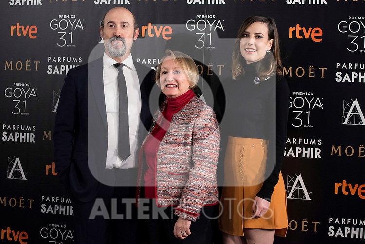 Javier Cámara, Natalia de Molina and the president of the academy Yvonne Blake during the reading of the nominates for Goya 2017 at Academia de Cine in Madrid, Spain. December 14, 2016. (ALTERPHOTOS/BorjaB.Hojas)