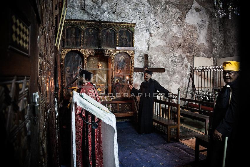 Ethiopian Orthodox celebrating in St. Michael's Chapel. Jerusalem