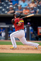 Toledo Mud Hens Kade Scivicque (4) at bat during an International League game against the Durham Bulls on July 16, 2019 at Fifth Third Field in Toledo, Ohio.  Durham defeated Toledo 7-1.  (Mike Janes/Four Seam Images)