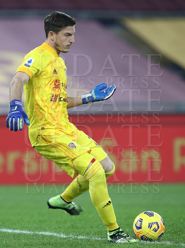 Football, Serie A: AS Roma - Cagliari calcio, Olympic stadium, Rome, December 23, 2020. <br /> Cagliari's goalkeeper Alessio Cragno in action during the Italian Serie A football match between Roma and Cagliari at Rome's Olympic stadium, on December 23, 2020.  <br /> UPDATE IMAGES PRESS/Isabella Bonotto
